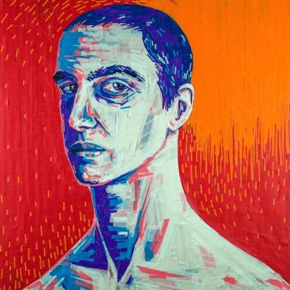 """Alfi"" Masking tape Portrait"